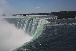 View of the Horseshoe Falls in Canada in the early morning.