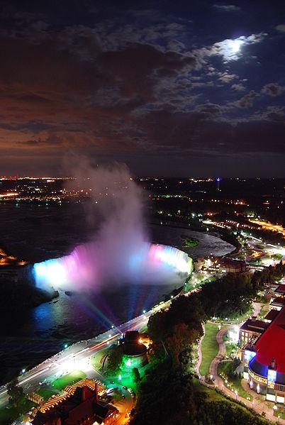 Night photograph of Niagara Falls