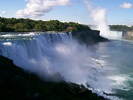 View of Niagara Falls from the official viewing deck.